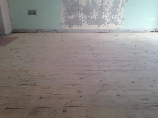 Floorboards after sanding