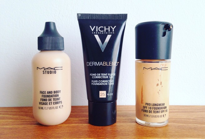Current Foundation Favourites :MAC Face and Body, Vichy Dermablend Corrective, MAC Prolongwear