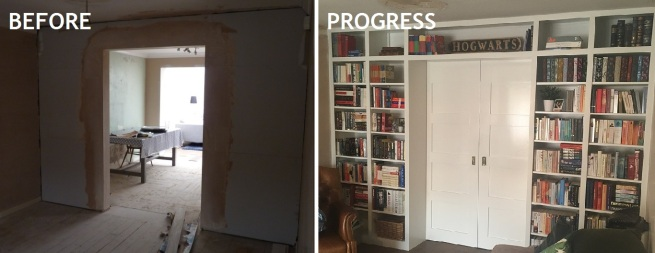 bookcase wall before and progress