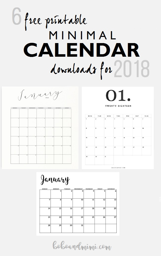Free Printable Minimalist Calendars 2018