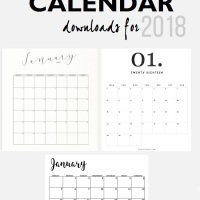 6 MINIMALIST 2018 CALENDARS TO DOWNLOAD FOR FREE