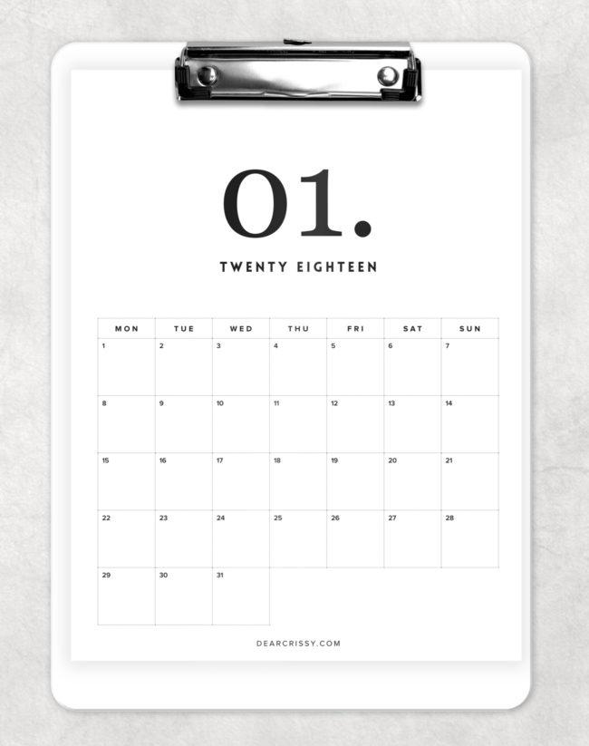 minimal 2018 calendar 1
