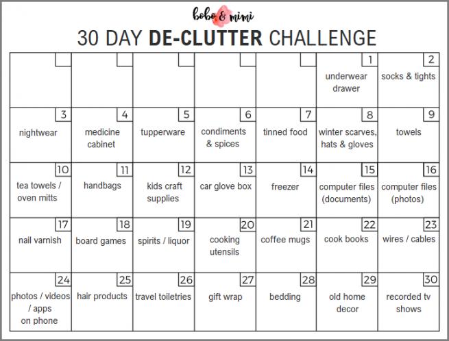Declutter Challenge Calendar